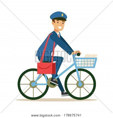 Postman In Blue Uniform On a Bicycle Delivering Mail, Fulfilling Mailman Duties With A Smile. Guy In Post Courier Job Happy With His Profession Vector Cartoon Illustration.