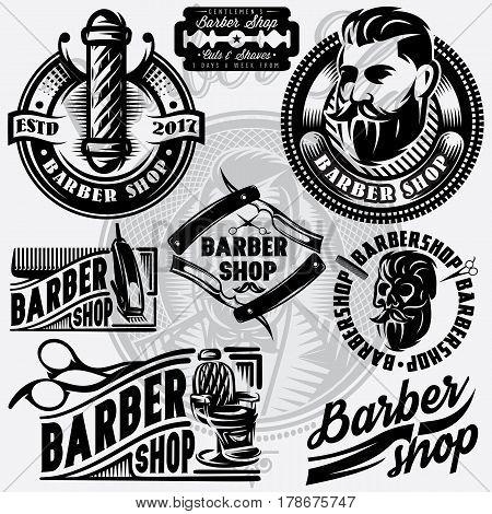 Set of templates for barbershop. Barbershop logo vector illustration.