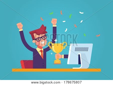 Handsome businessman got a gold award in the online contest from monitor. Modern male character. Flat vector