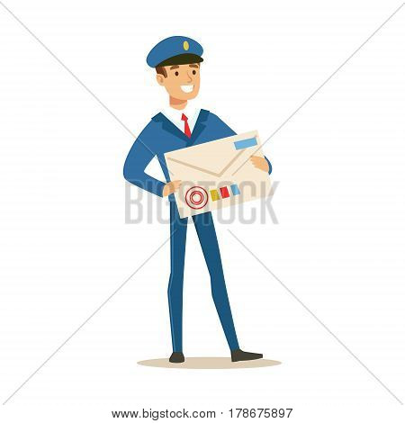 Postman In Blue Uniform Delivering Mail, Holding Giant Letter Envelop, Fulfilling Mailman Duties With A Smile. Guy In Post Courier Job Happy With His Profession Vector Cartoon Illustration.