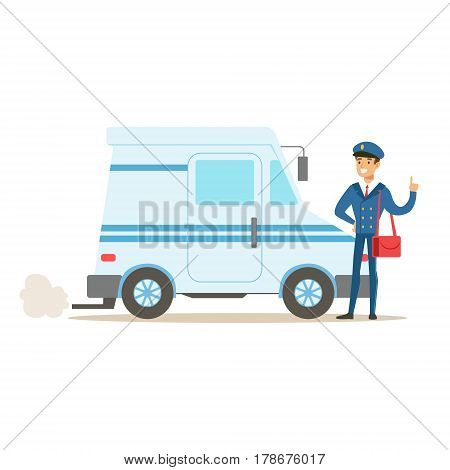 Postman In Blue Uniform With The Car Delivering Mail, Fulfilling Mailman Duties With A Smile. Guy In Post Courier Job Happy With His Profession Vector Cartoon Illustration.