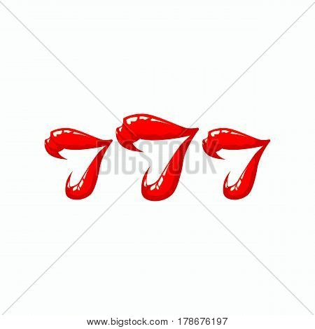 Triple seven illustration on a white background. Women's lips and 777 winnings in the casino. Slot machine illustration.