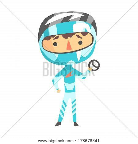 Boy In Formula One Racer Uniform Holding A Wheel Vector Cartoon Illustrations With Child Dreaming To Be A Racer. Fast Car Or Motorbike Kid Rider Future Career Dream Drawing.