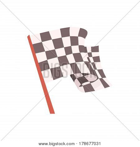 Checkered Flag For The Race Start Signal, Racing Related Objects Part Of Racer Attribute Illustration Set. Vector Cartoon Isolated Items Associated With Speed Race Sport