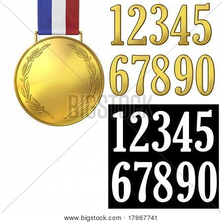 Gold medal of honor with golden numbers to place over the medal. Includes alpha for isolating the numbers.