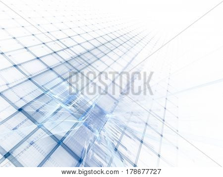 Abstract background element. Three-dimensional composition of repeating grids. Information technology concept. Blue and white colors.