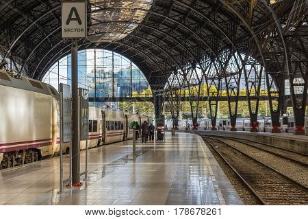 BARCELONA, SPAIN - OCTOBER 22, 2015:The elegant building of the station Estacio de Franca is a prime example of Spanish monumental architecture of the XX century and the most beautiful railway station in Barcelona Spain