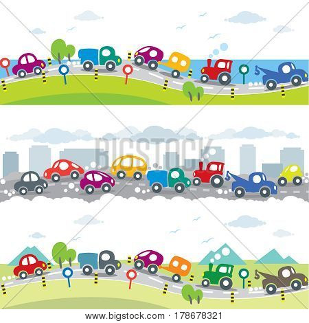 Funny cars. Horizontal seamless car background or kids pattern set. Near the sea, on the urban polluted city or gassy street road, and near the mountains. Children vector illustration