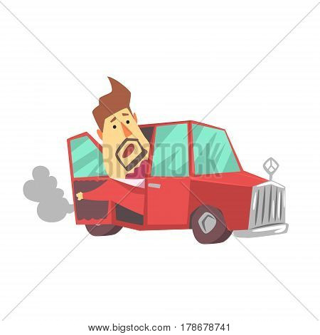 Millionaire Rich Man With Expensive Car Broken, Funny Cartoon Character Lifestyle Situation. Multimillionaire Businessman With Goatee In Red Suit Activity Vector Illustration.