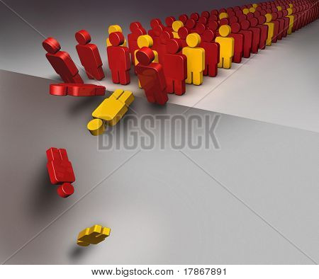 3D illustration of a group of people falling down as in domino effect