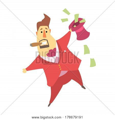 Millionaire Rich Man Holding A Top Hat That Is Filled With Money Bills , Funny Cartoon Character Lifestyle Situation. Multimillionaire Businessman With Goatee In Red Suit Activity Vector Illustration.