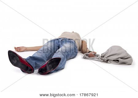 Woman in a faint lying on the floor holding a bag. poster