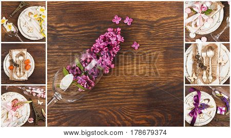 Floral collage: Tableware and silverware with different summer flowers on the wooden background top view