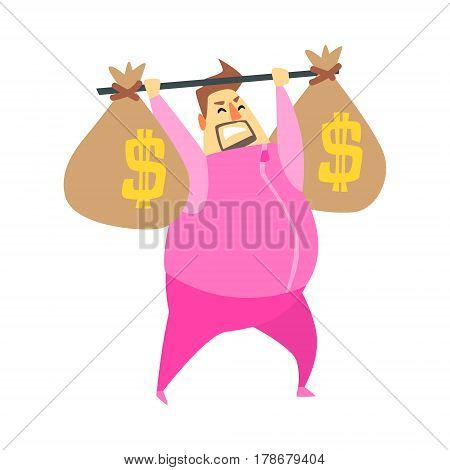 Millionaire Rich Man In Pink Training Suit Lifting The Weight With Two Big Money Bags , Funny Cartoon Character Lifestyle Situation. Multimillionaire Businessman With Goatee In Red Suit Activity Vector Illustration.
