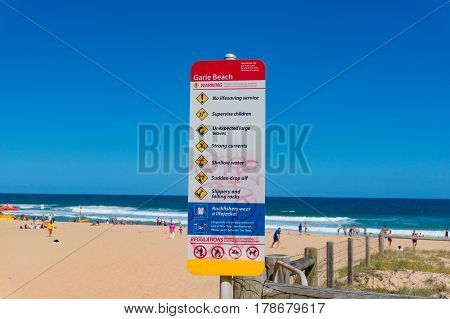 Garie Beach Warning Sign With Beach Rules