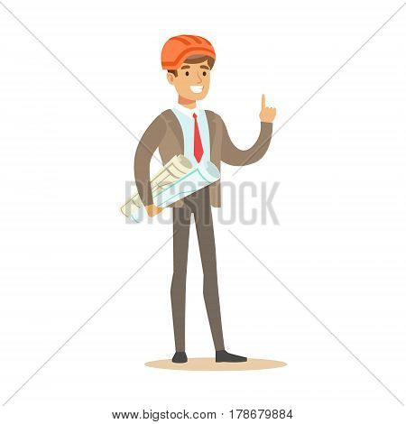 Engineer With Plans Wearing Hard Hat , Part Of Roadworks And Construction Site Series Of Vector Illustrations.. Flat Cartoon Drawings With Professional City Streets Maintenance Scenes .