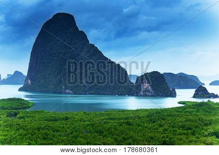 Viewpoint in Sametnangshe overlooking the bay of Phang Nga