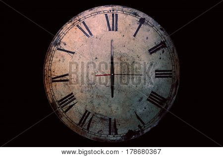 Antique of clock on a black background