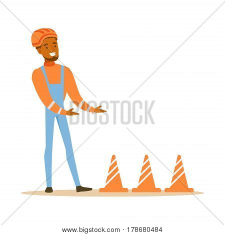 Road Worker Installing Cone Signals , Part Of Roadworks And Construction Site Series Of Vector Illustrations. Flat Cartoon Drawings With Professional City Streets Maintenance Scenes .