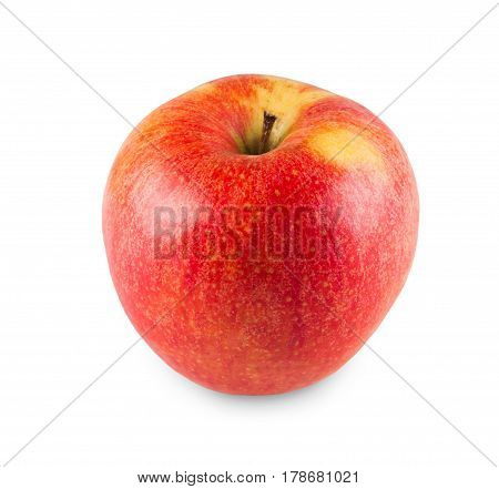 One red and yellow honeycrisp apple isolated on white background. Closeup image of sweet fruit, healthy natural organic food