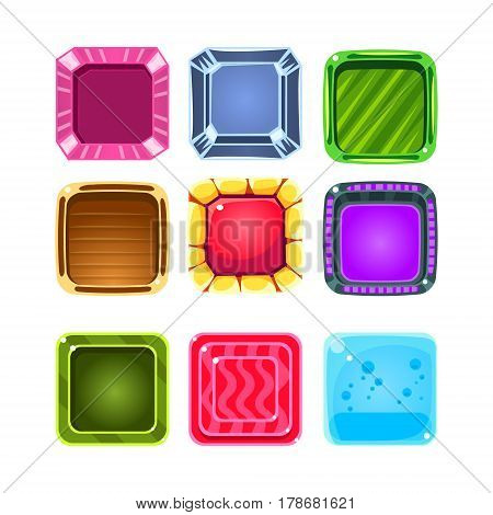 Colorful Gems Flash Game Element Templates Design Collection With Colorful Square Candy For Three In The Row Type Of Video Game. Glossy Bright Color Details For Gaming Constructor Purposes Vector Icons.