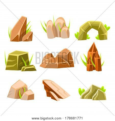 Natural Brown And Green Rocks Of Different Shape Collection Of Landscape Design Elements For Flash Game. Landscaping Set Of Stones And Crystals For Nature Outdoors Constructor Vector Cartoon Items.