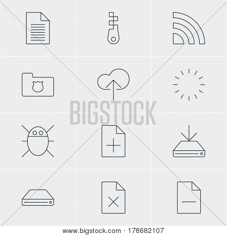 Vector Illustration Of 12 Web Icons. Editable Pack Of Computer Virus, Information Load, Privacy Doc And Other Elements.