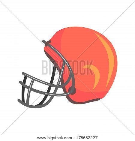 Protective Players Helmet With Face Mask, Part Of American Football Related Isolated Objects Series Of Sportive Illustrations.. Rugby Sport Element Or Inventory Flat Vector Icon.