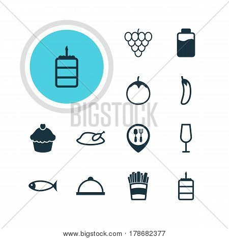 Vector Illustration Of 12 Eating Icons. Editable Pack Of Aubergine, Pastry, Platter And Other Elements.
