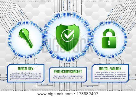 Digital technology concept of background with shield key and padlock. Circuit board background. Hi-tech electronic wires. Abstract information security. Modern safety digital background.