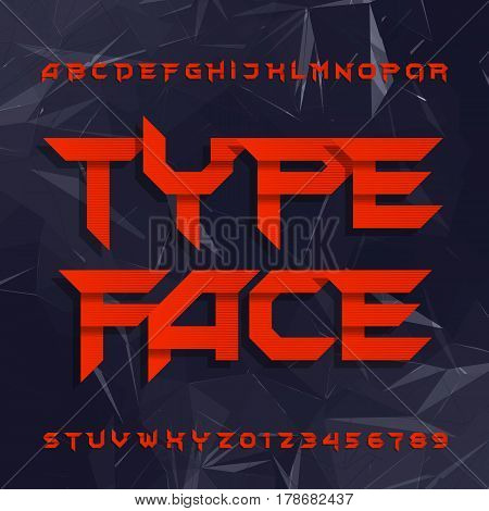 Decorative alphabet typeface. Geometric type letters and numbers on a polygonal background. Vector typeset for your design.