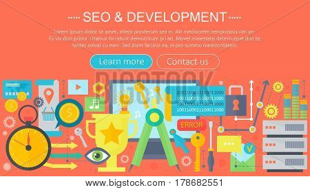 SEO and development concept design infographics template design, web header seo icons elements. Vector illustration