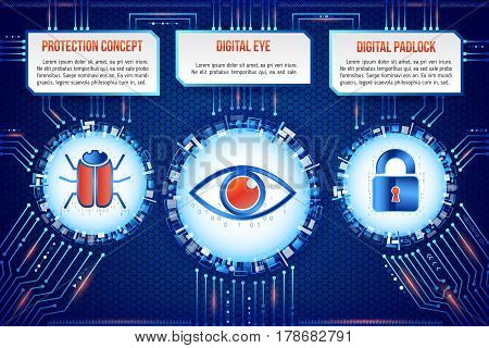 Digital technology concept of background with hacker bug eye and padlock. Circuit board background. Hi-tech electronic wires. Abstract information security. Modern safety digital background.