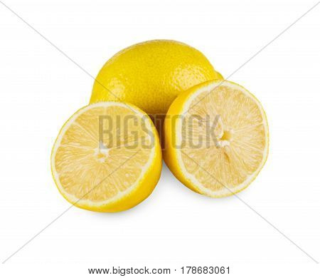 Yellow lemon core isolated on white background. Closeup image of sore citrus fruit half, healthy natural organic food