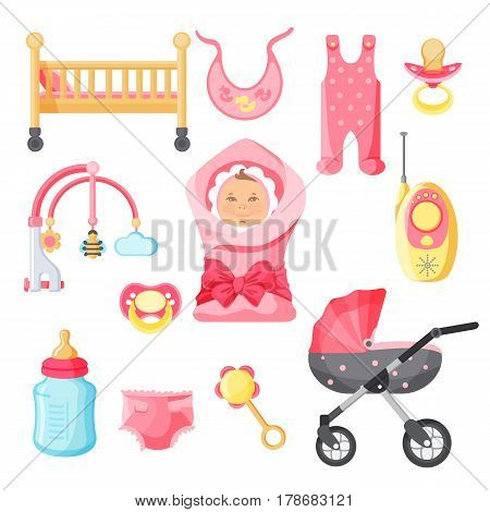 Newborn girl things vector poster with white background. Elements for baby upbringing in pink color. Collection of rosy clothes, modern buggy, wooden bed, baby monitor, colorful toys
