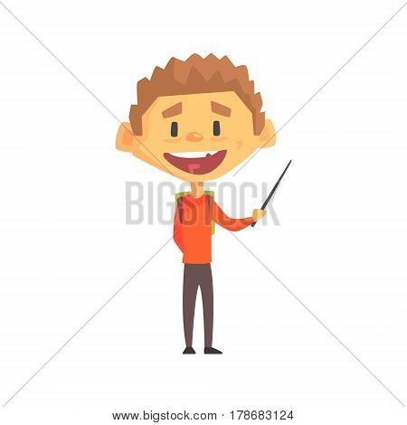 Smiling Boy With Pointer, Primary School Kid, Elementary Class Member, Isolated Young Student Character. Elementary School Scholar On School Trip Flat Cartoon Illustration With Child.