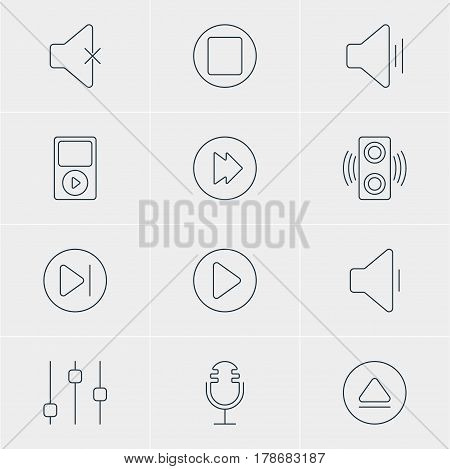 Vector Illustration Of 12 Music Icons. Editable Pack Of Rewind, Amplifier, Subsequent And Other Elements.