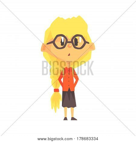 Confused Blond Girl In Glasses With A Plat, Primary School Kid, Elementary Class Member, Isolated Young Student Character. Elementary School Scholar On School Trip Flat Cartoon Illustration With Child.