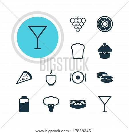 Vector Illustration Of 12 Cuisine Icons. Editable Pack Of Cotton, Martini, Streetfood And Other Elements.