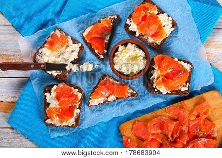Delicious Rye Bread Toasts With Salmon