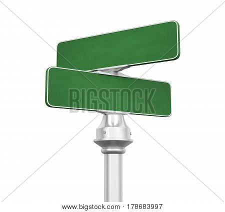 Blank Street Sign isolated on white background. 3D render