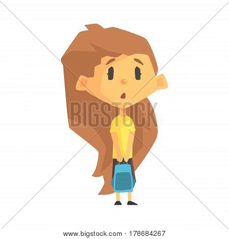 Surprised And Sad Girl With Long Brown Hair, Primary School Kid, Elementary Class Member, Isolated Young Student Character. Elementary School Scholar On School Trip Flat Cartoon Illustration With Child.