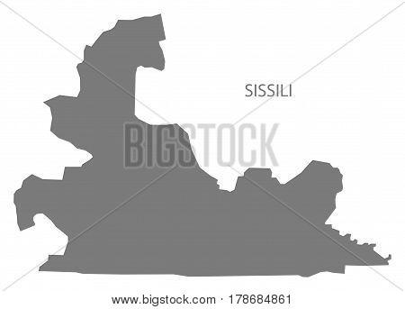 Sissili Burkina Faso Province Map Grey Illustration Silhouette