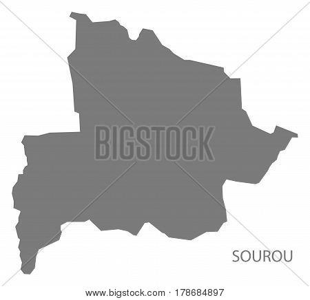 Sourou Burkina Faso Province Map Grey Illustration Silhouette