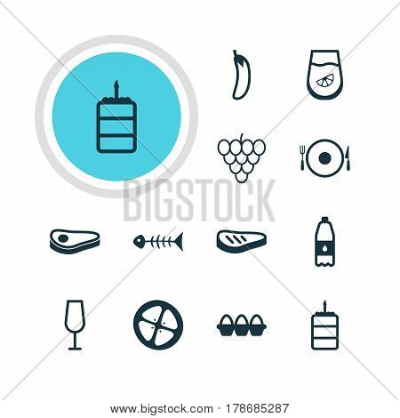 Vector Illustration Of 12 Cooking Icons. Editable Pack Of Muscat, Love Apple, Pastry And Other Elements.
