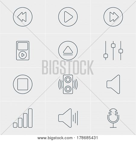 Vector Illustration Of 12 Music Icons. Editable Pack Of Acoustic, Pause, Stabilizer And Other Elements.