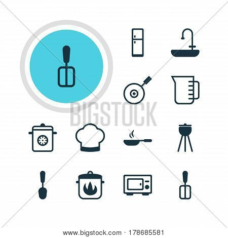 Vector Illustration Of 12 Restaurant Icons. Editable Pack Of Steamer, Washstand, Oven Elements.