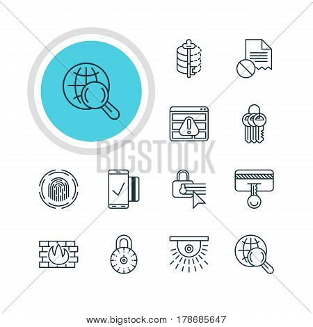 Vector Illustration Of 12 Web Safety Icons. Editable Pack Of Internet Surfing, Encoder, Finger Identifier And Other Elements.