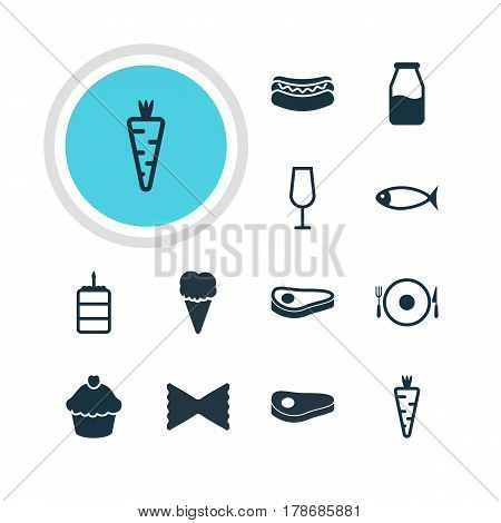Vector Illustration Of 12 Cuisine Icons. Editable Pack Of Sundae, Seafood, Veggie And Other Elements.