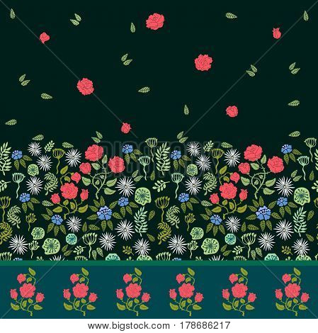 Seamless vector border with roses and wildflowers.